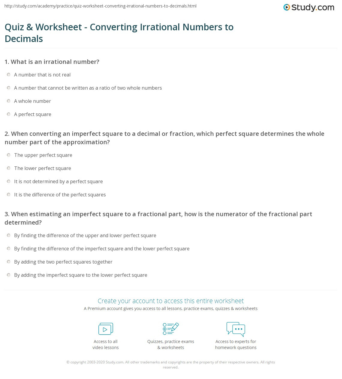 Approximating Irrational Numbers Worksheet