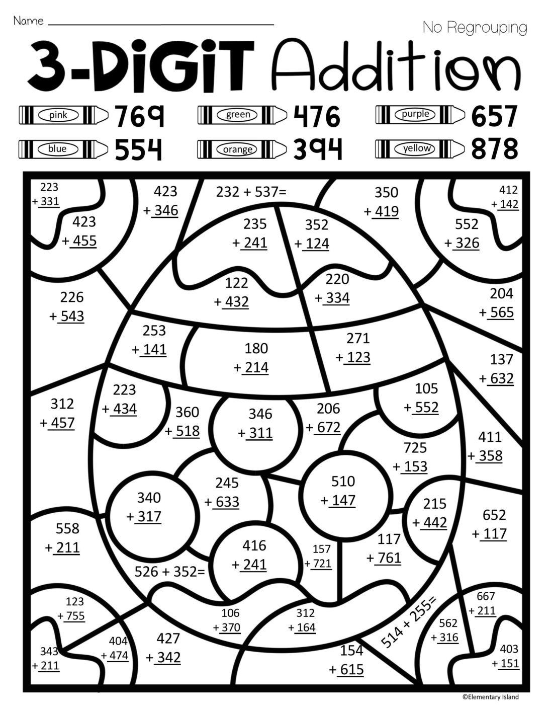Coloring Pages Easter Spring Three Digit Addition Color By