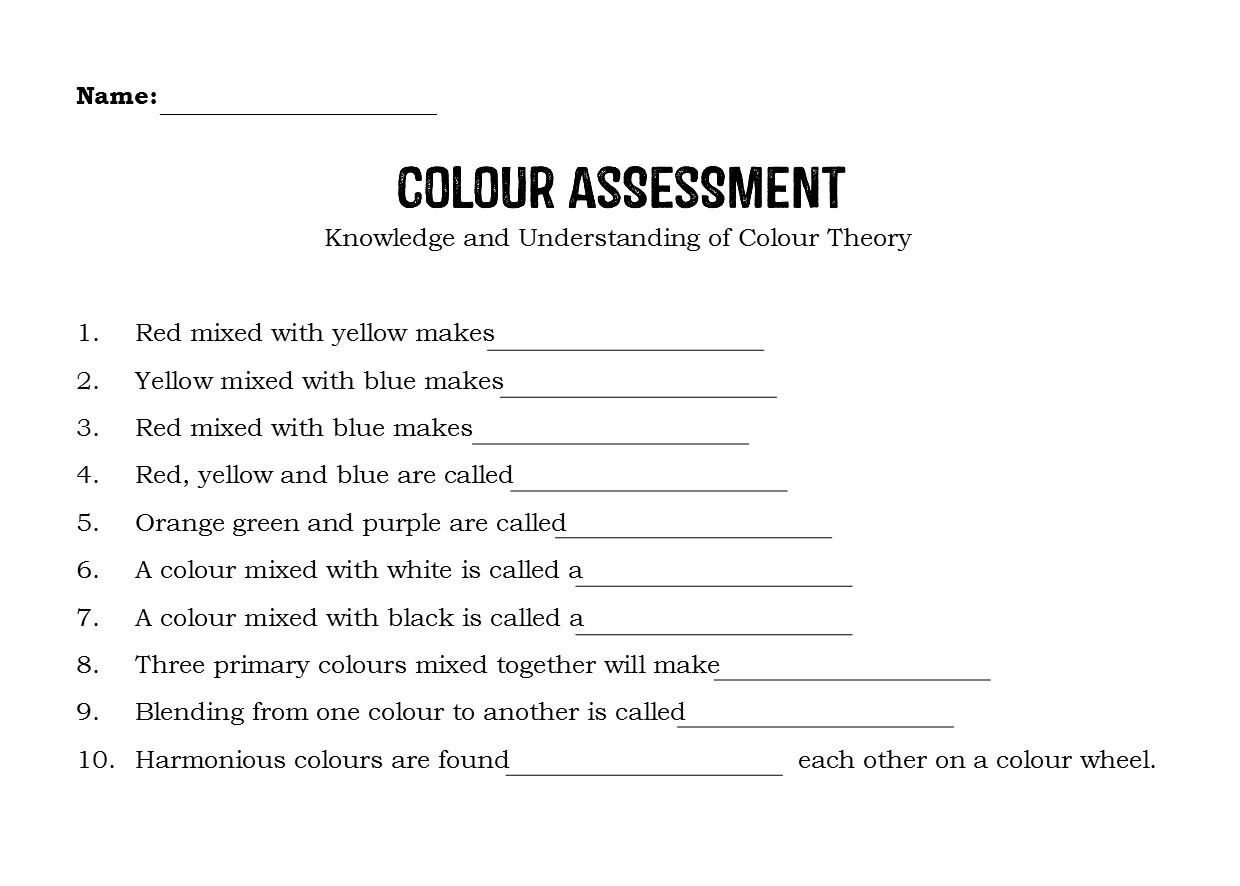 Color theory Worksheet Answers