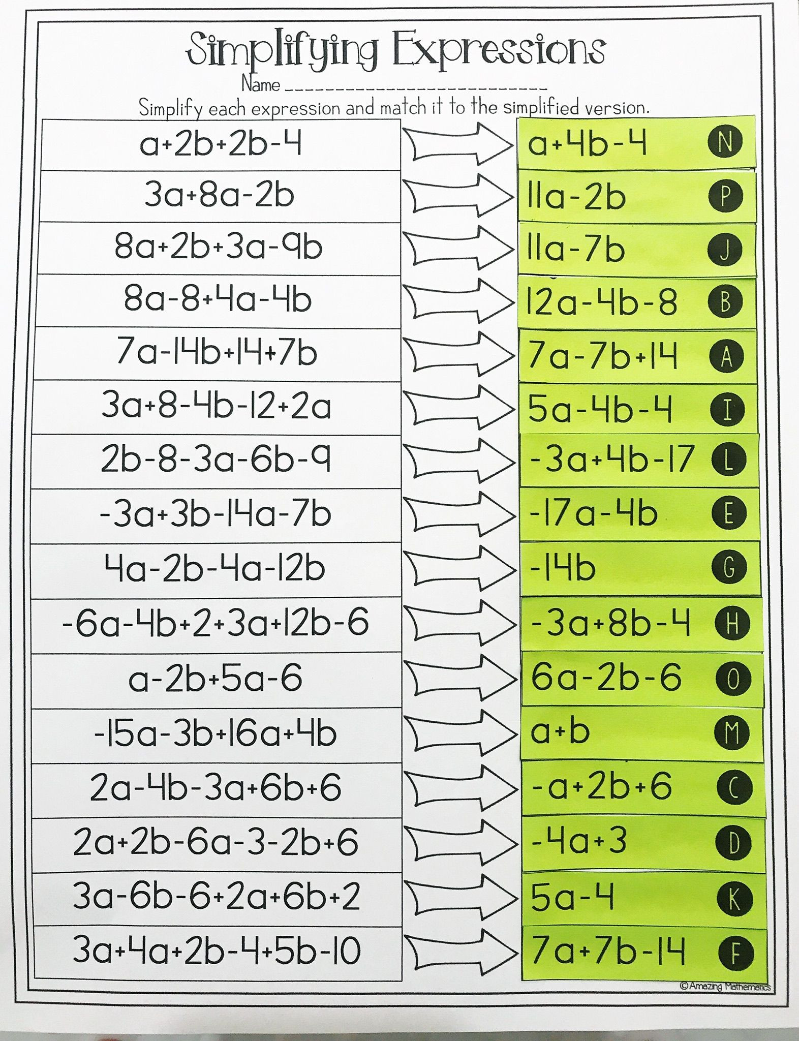 Combining Like Terms Coloring Worksheet