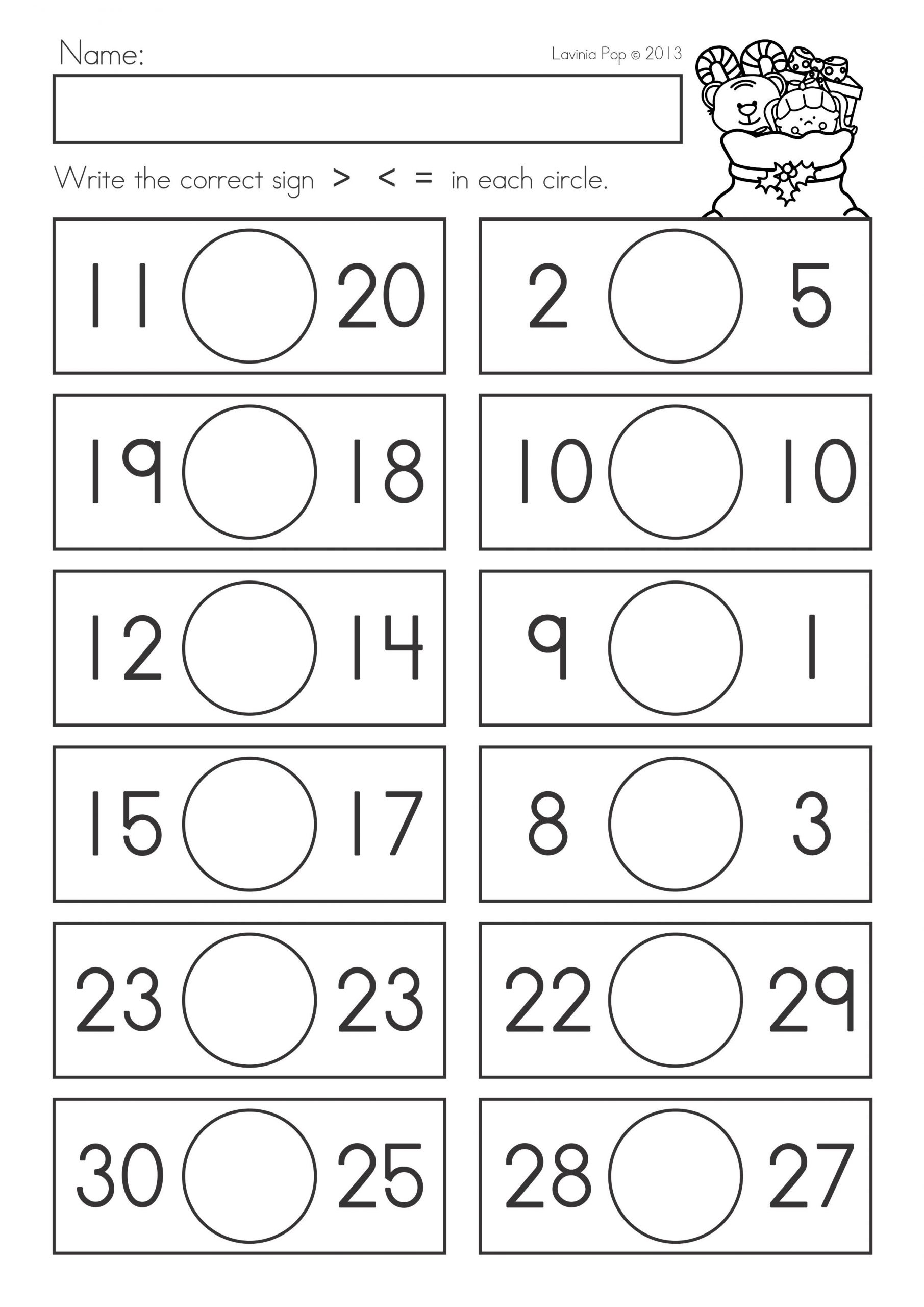 Comparing Numbers First Grade Worksheet