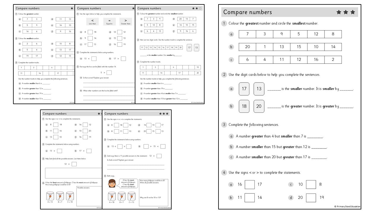 Comparing Numbers to 20 Worksheets