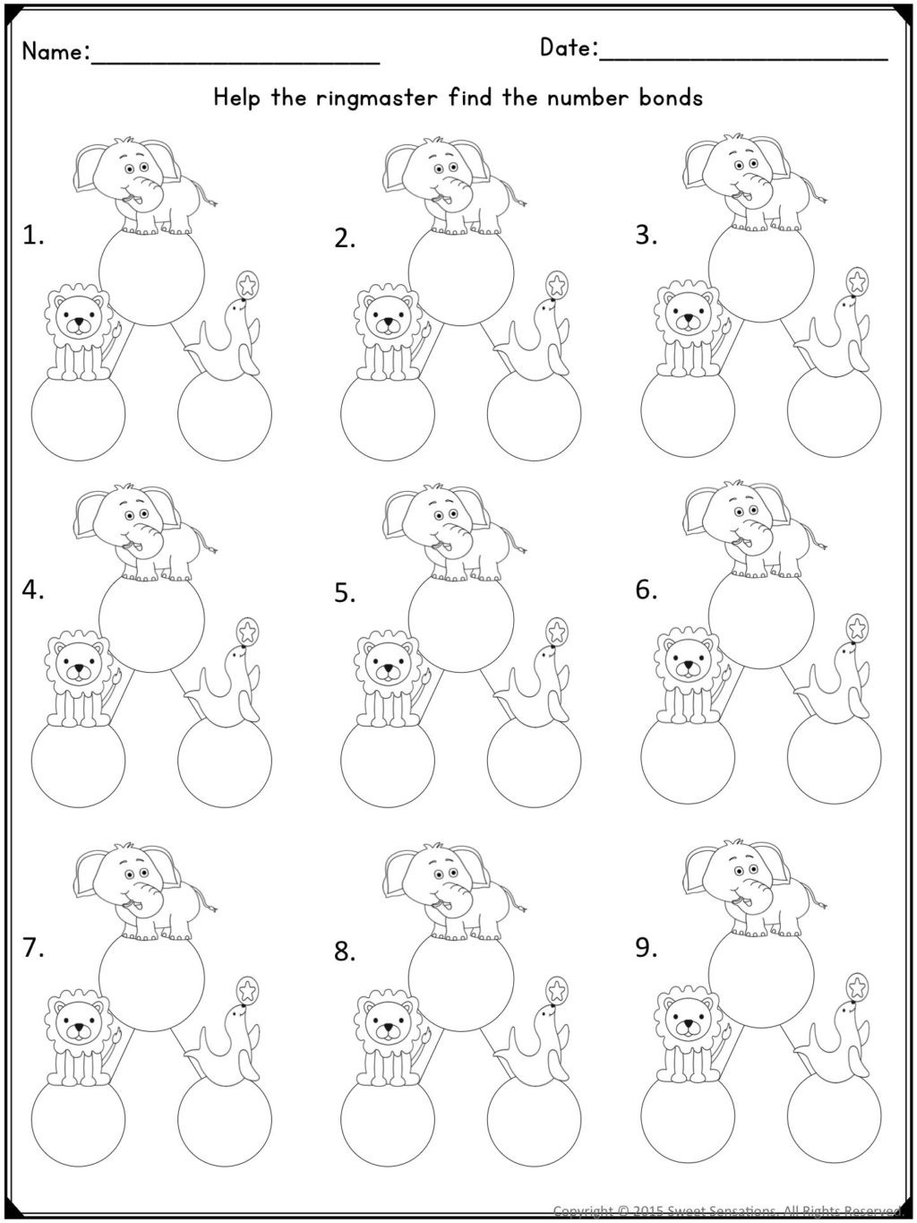 Decomposing Numbers First Grade Worksheets