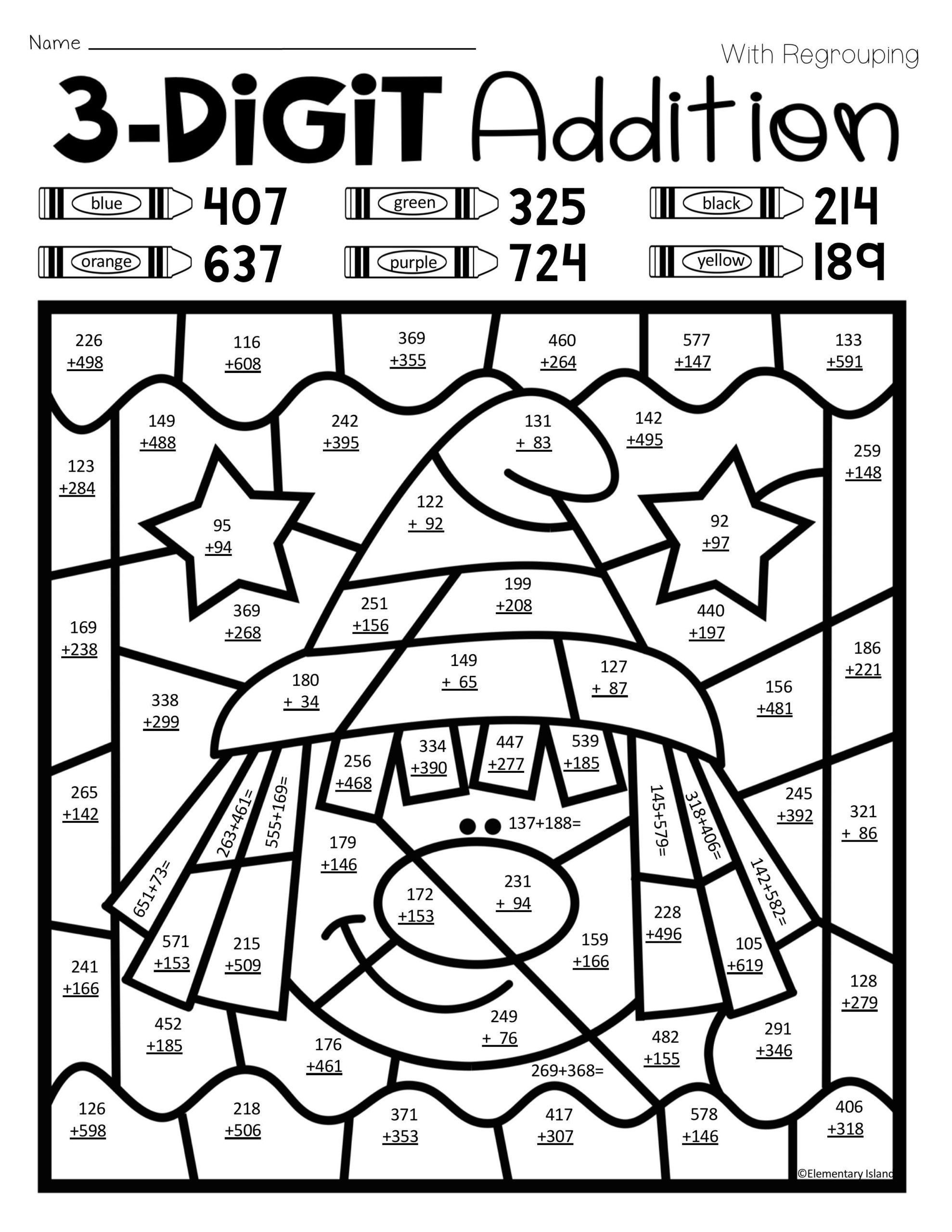 Double Digit Addition Coloring Worksheets Coloring Book