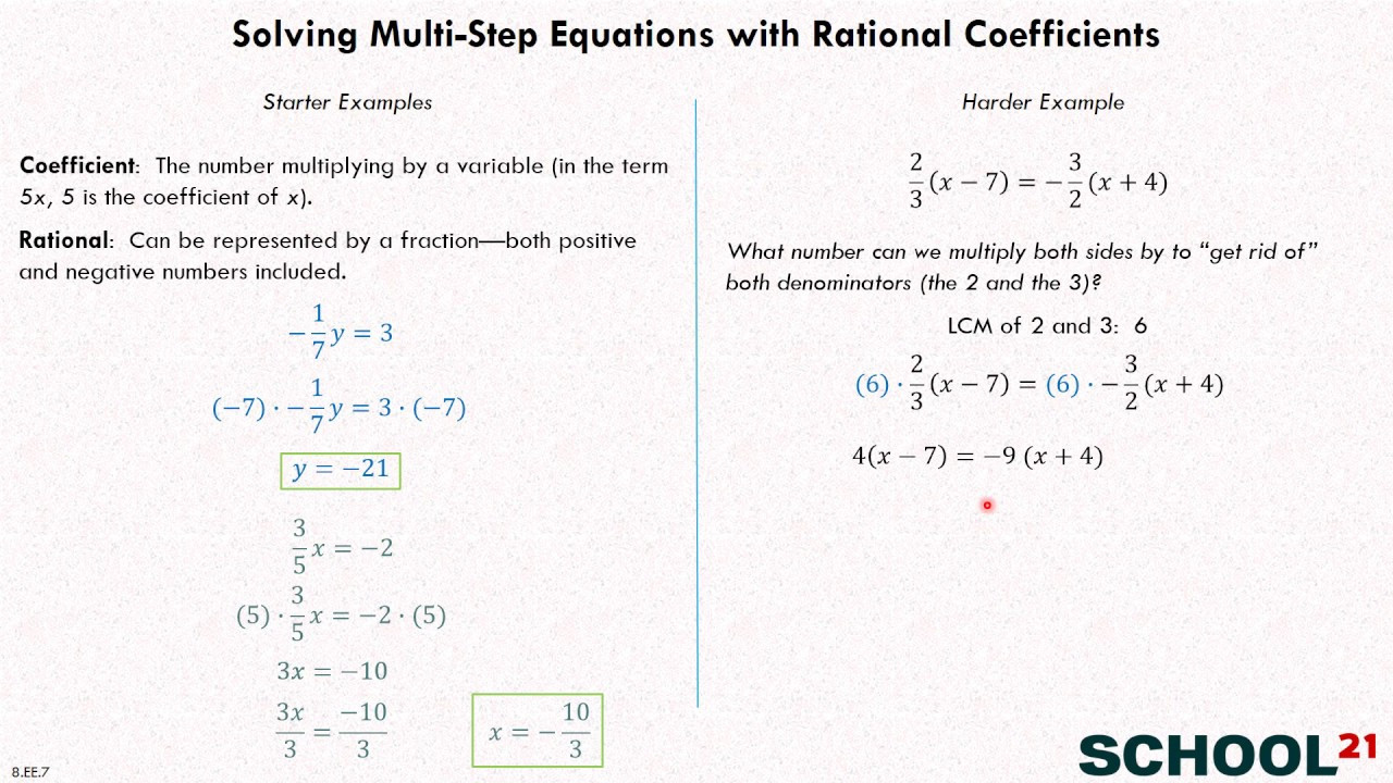 Equations with Rational Numbers Worksheet