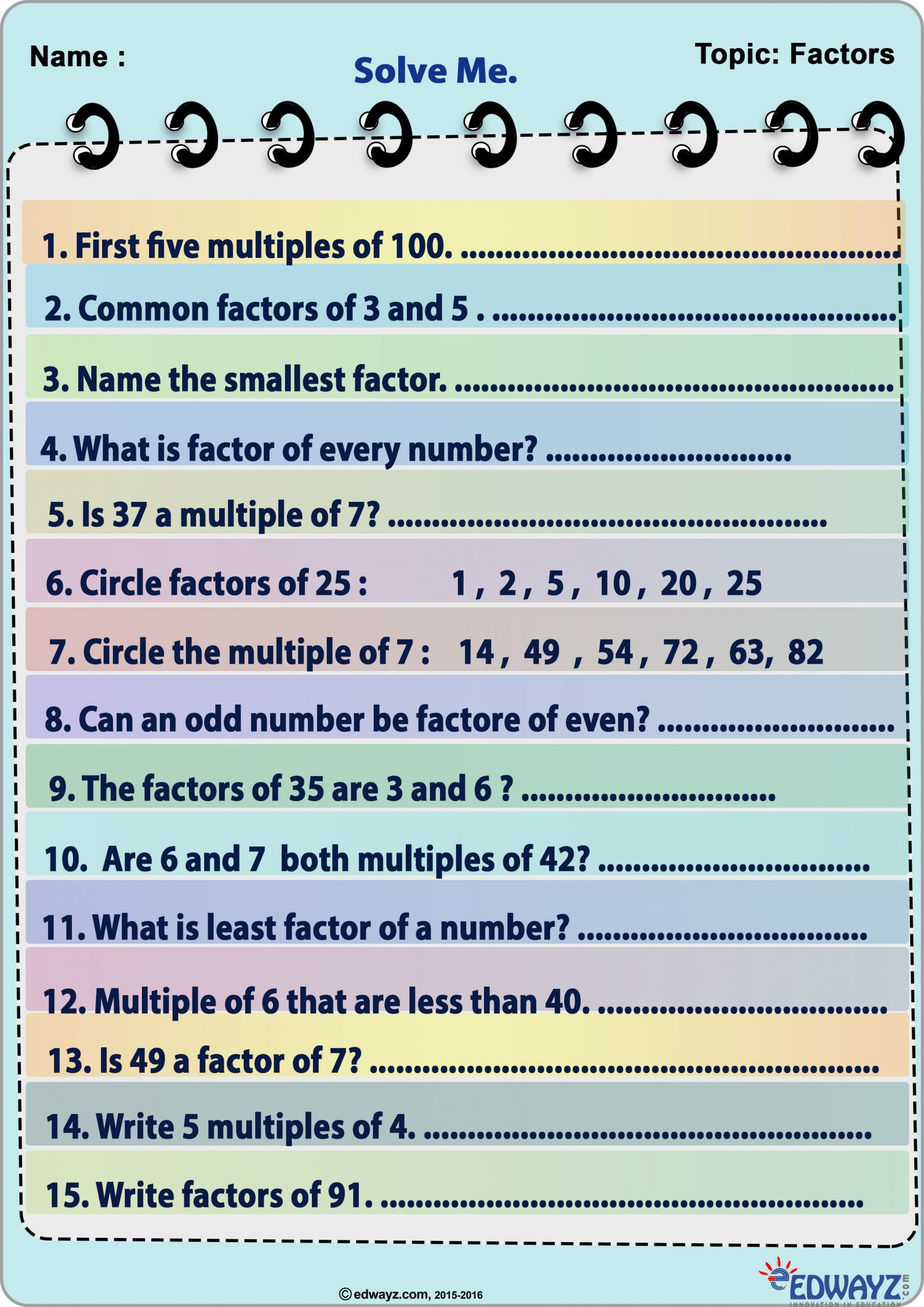 Factors and Multiples Worksheets