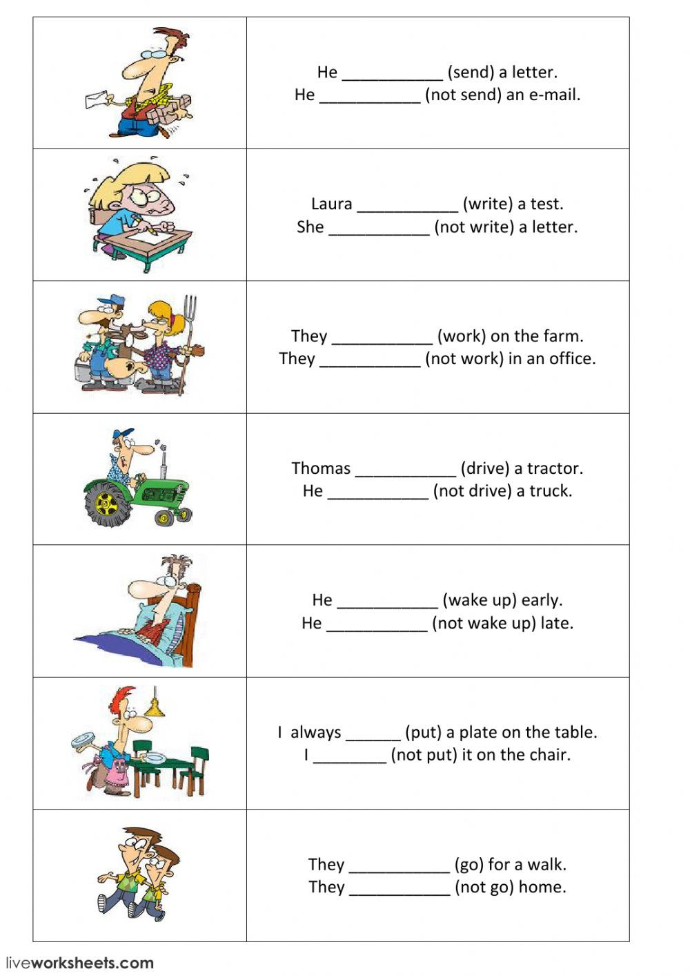 From Farm to Table Worksheets