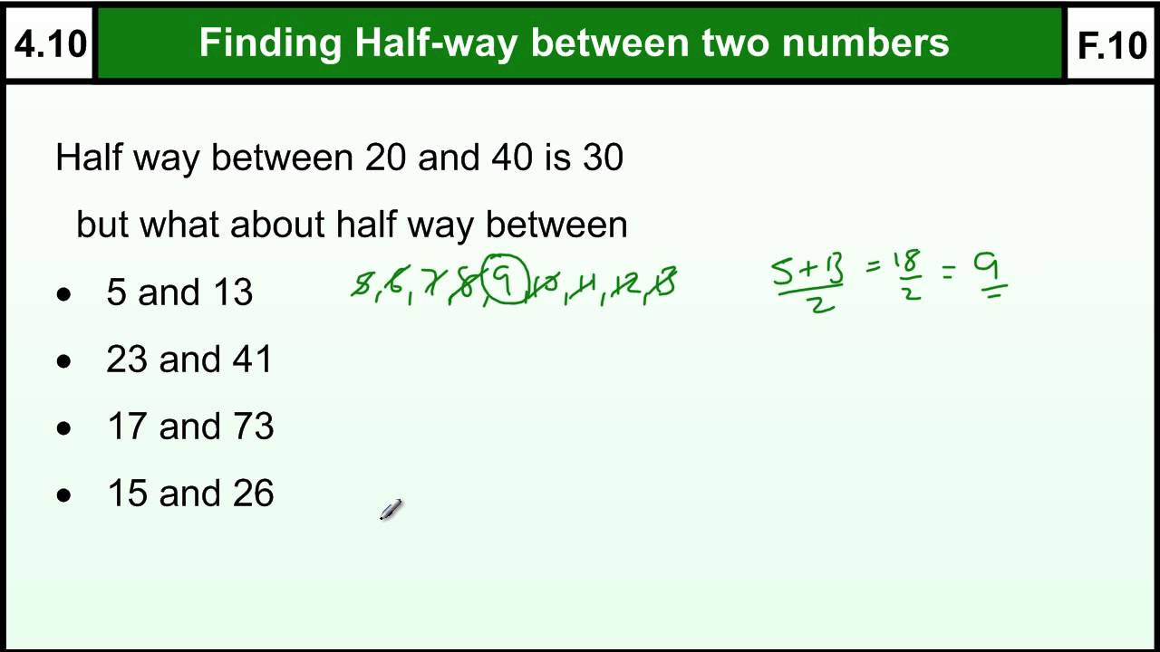 4 10 Halfway Midpoint between two numbers quick method Basic Maths Core Skills Level 4