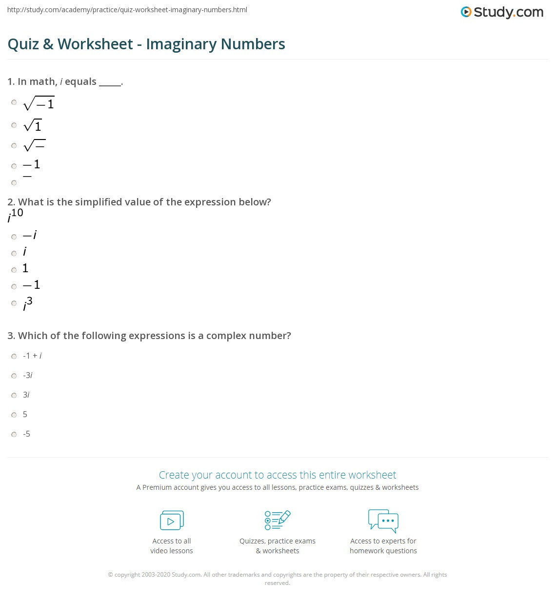 Imaginary Numbers Worksheet with Answers