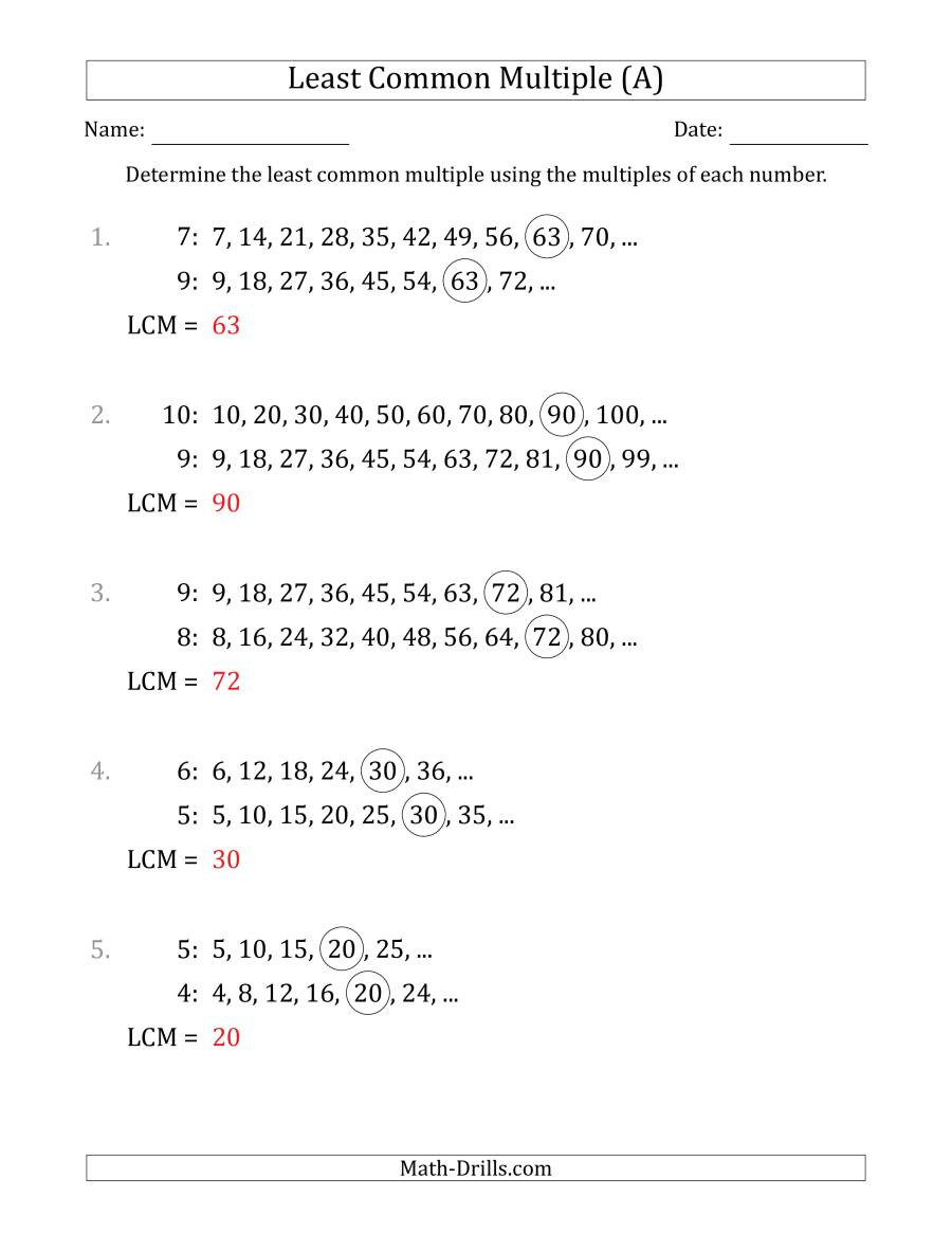 Least mon Multiple from Multiples of Numbers to 10 LCM