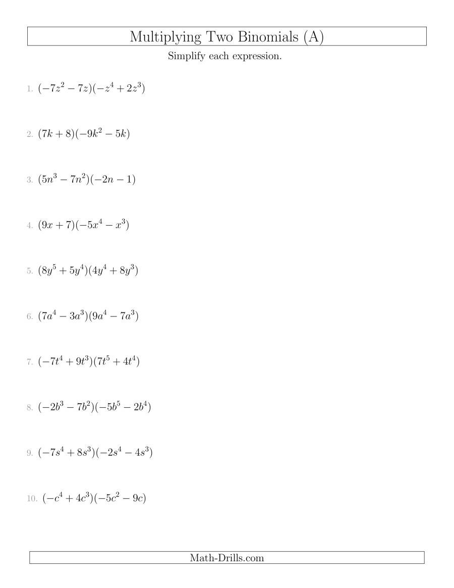 Multiplying Two Binomials A