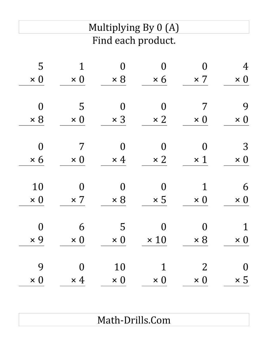 Multiplying by 0 Worksheets