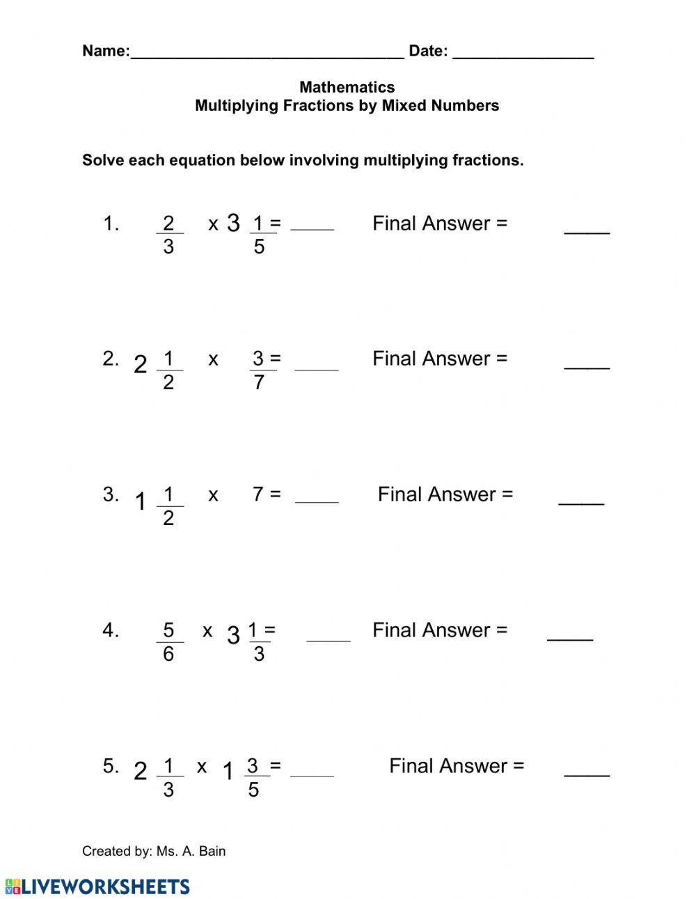 Multiplying Fractions by Fractions Worksheets