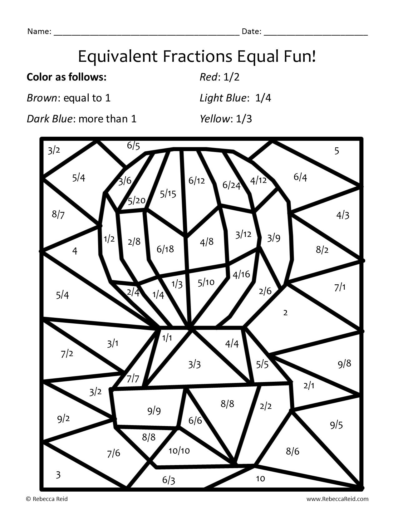 Multiplying Fractions Coloring Worksheets