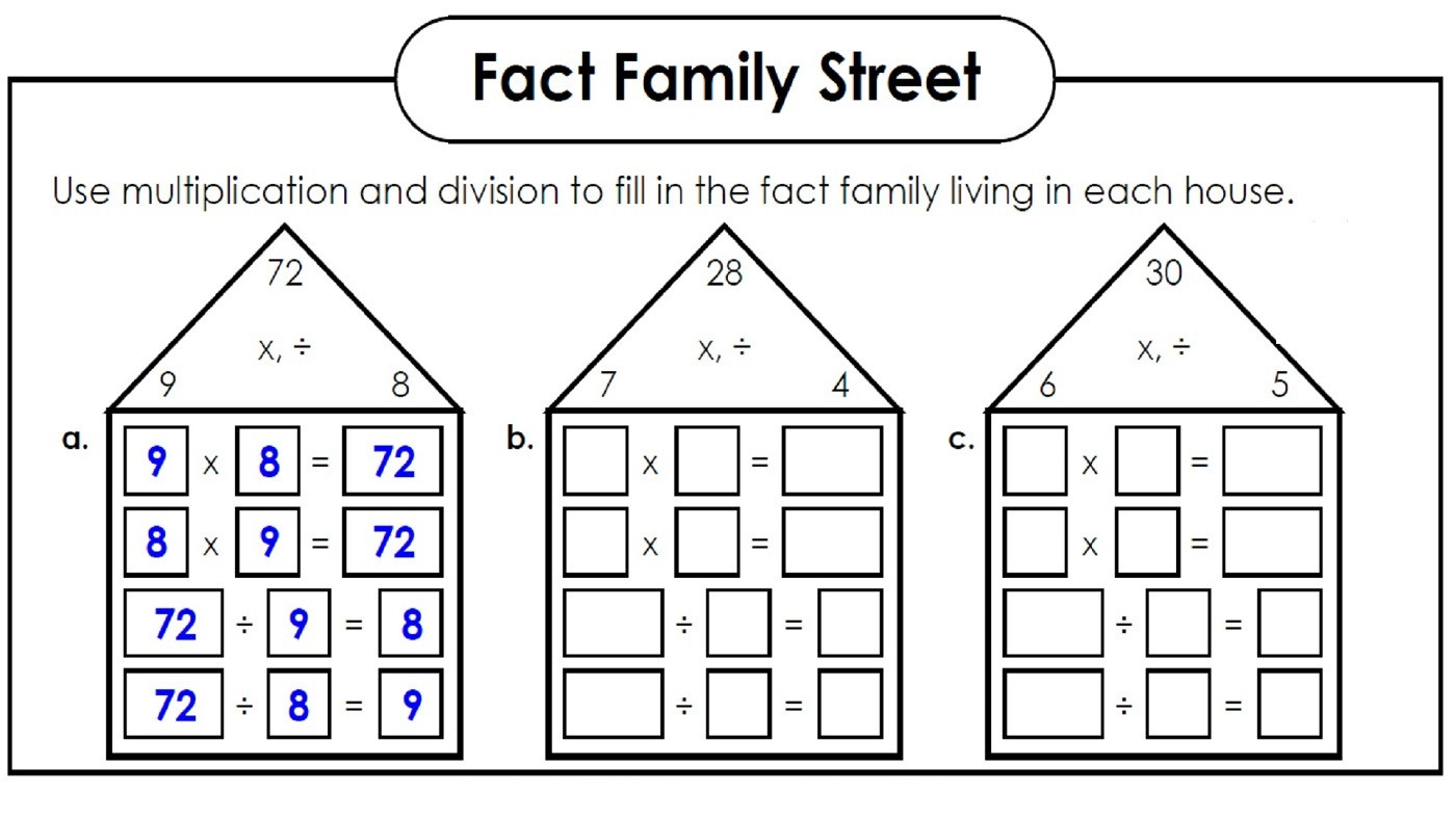 Fact Families Worksheets Printable