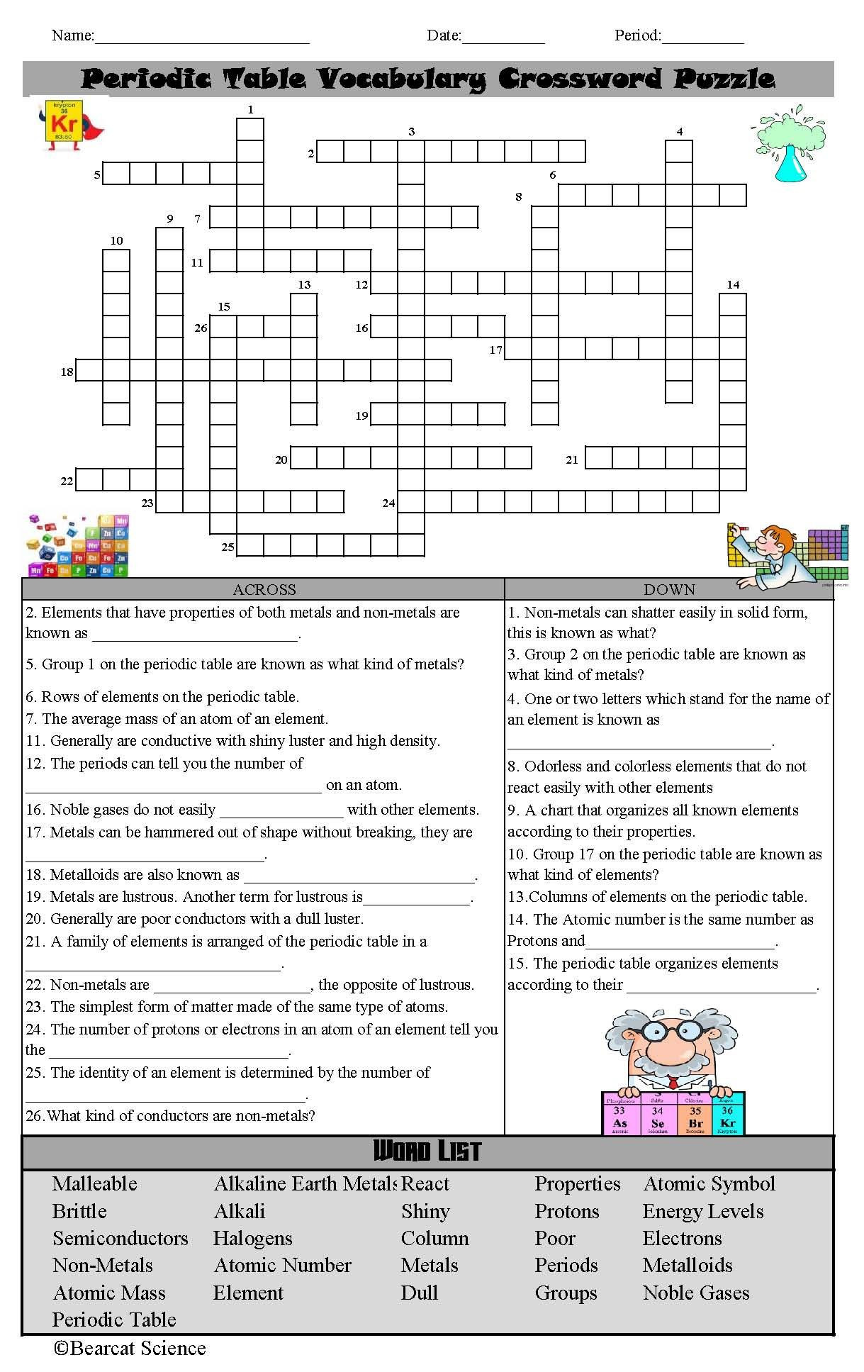 Periodic Table Vocabulary Worksheet