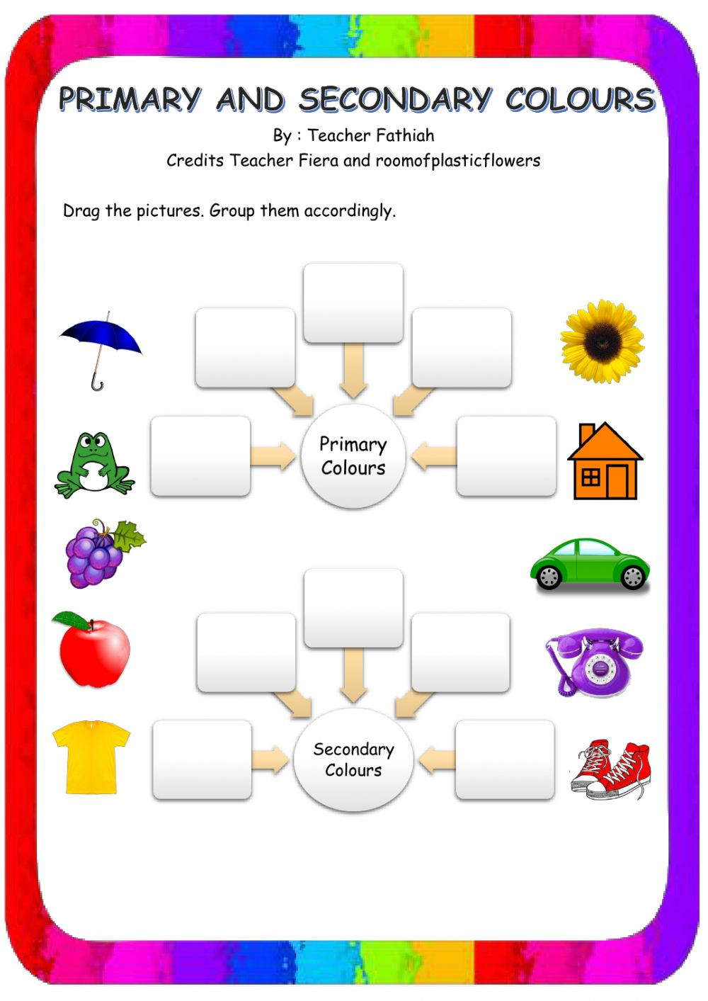 Primary and Secondary Colors interactive worksheet