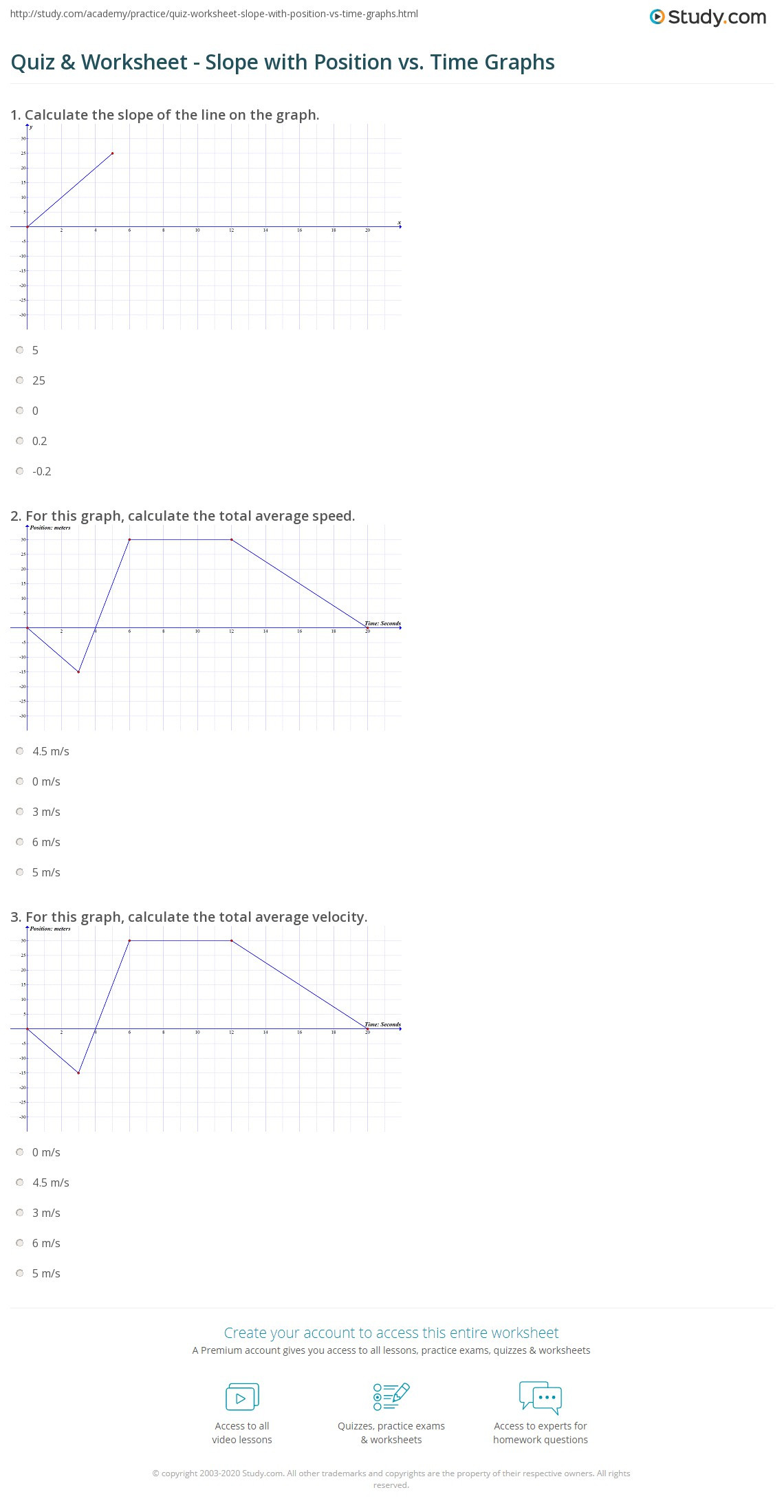 Slope From Table Worksheet
