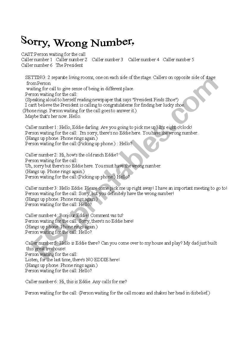 English worksheets a play sorry wrong number
