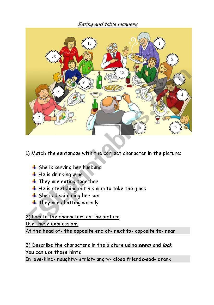 Table Manners for Kids Worksheets