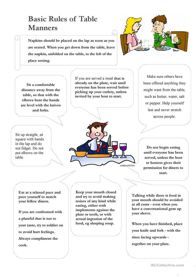 Table manners English ESL Worksheets for distance learning