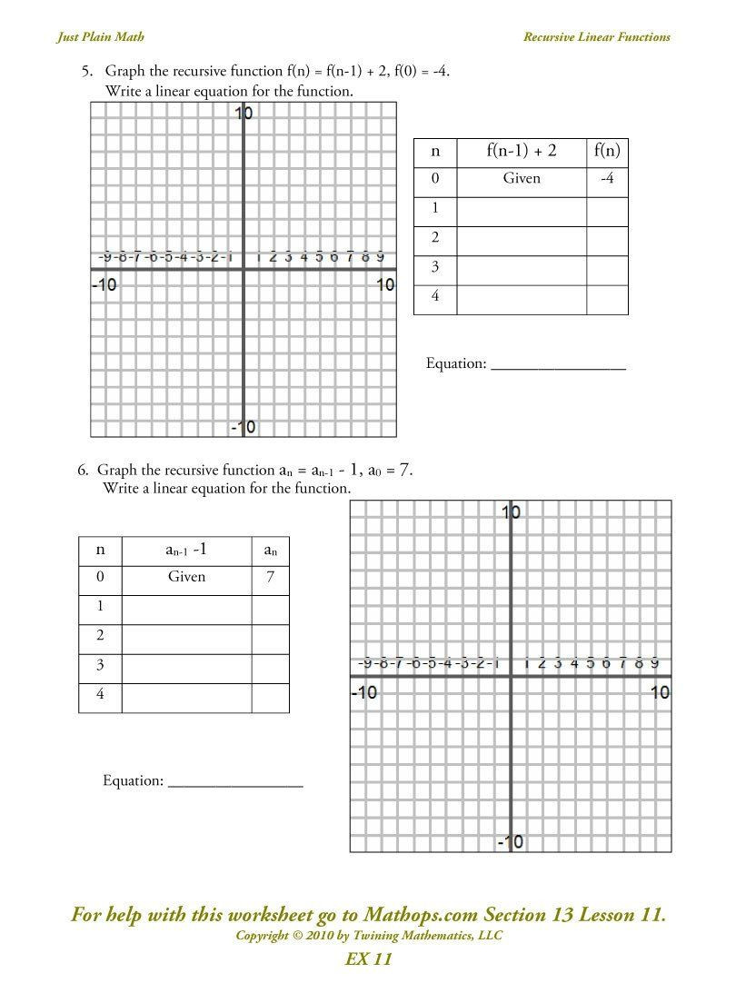 Equations Tables and Graphs Worksheets Ex 11 Recursive