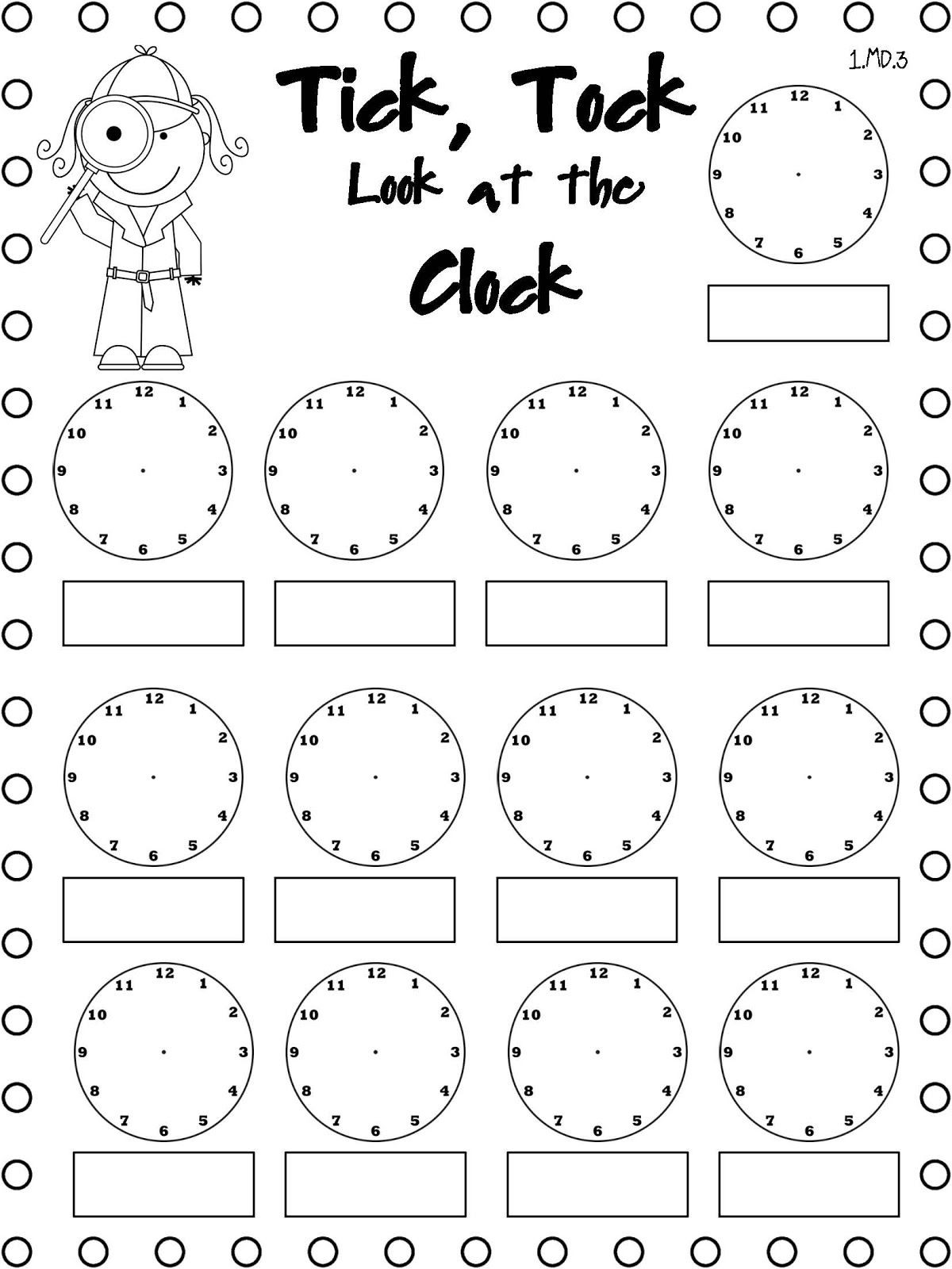 Telling Time Coloring Worksheets