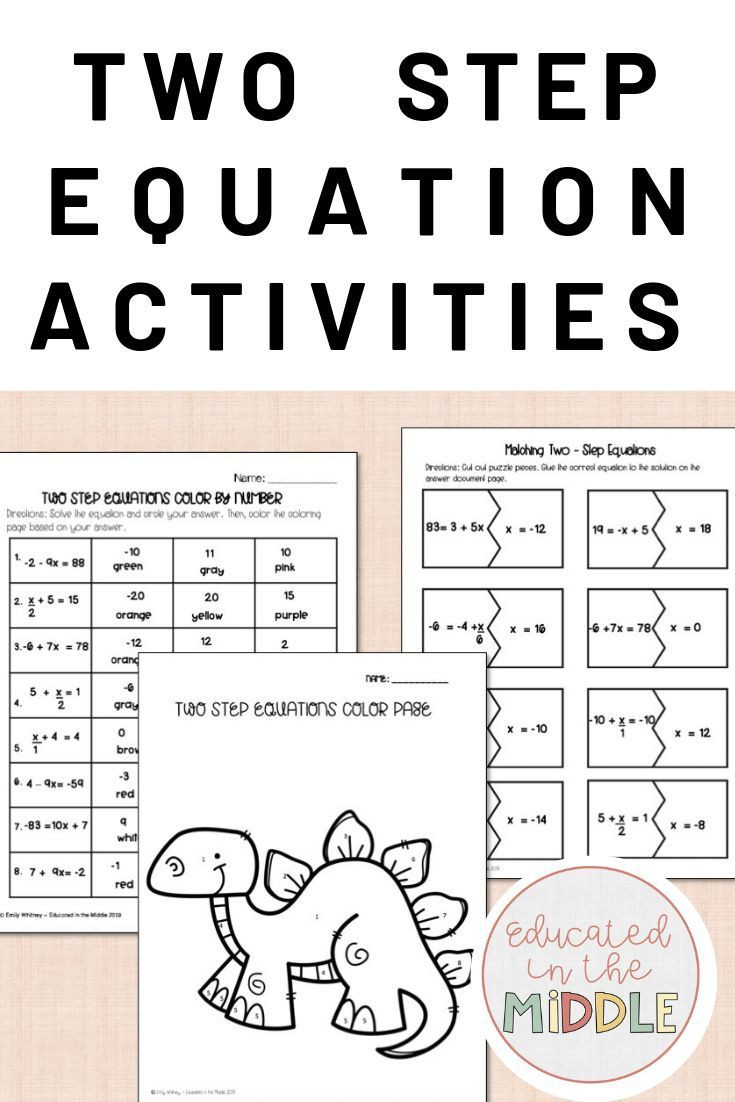 Two Step Equation Activities With images
