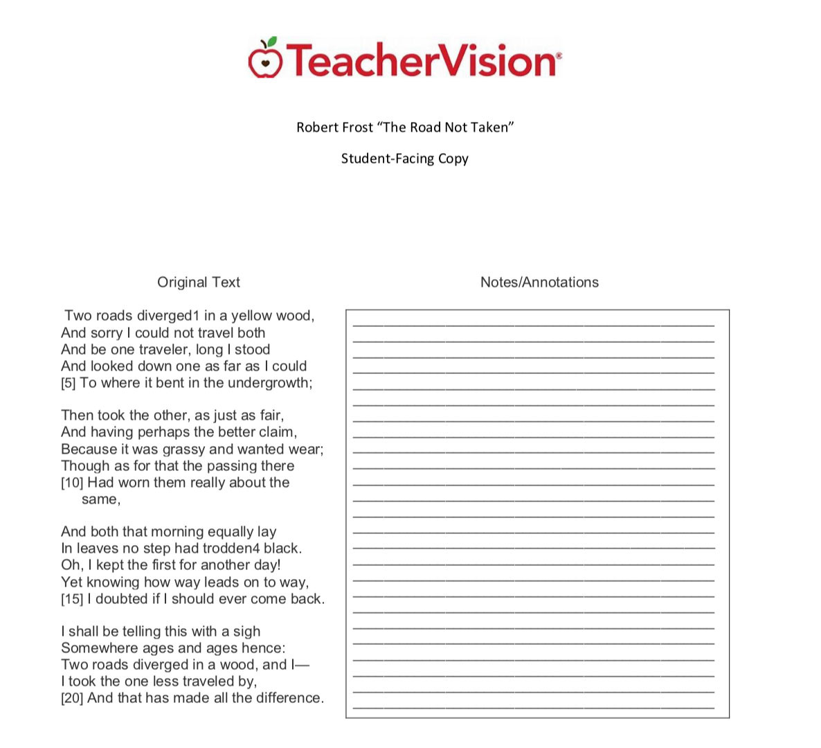 6th Grade Poetry Unit Worksheets