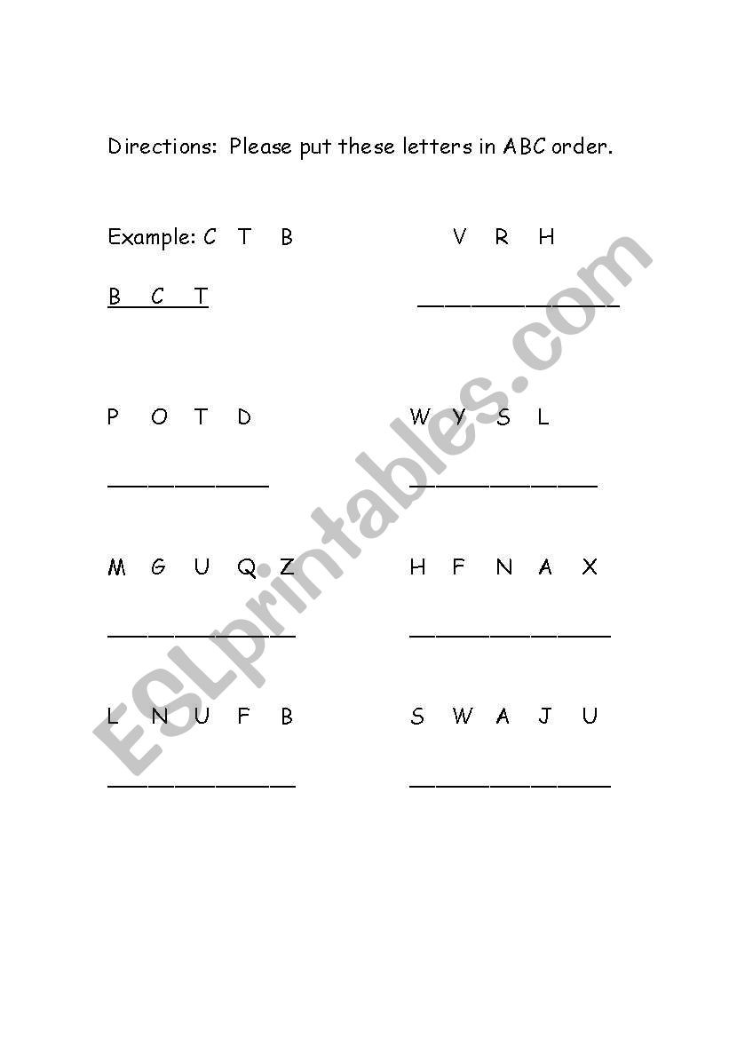 Abc order Free Worksheets