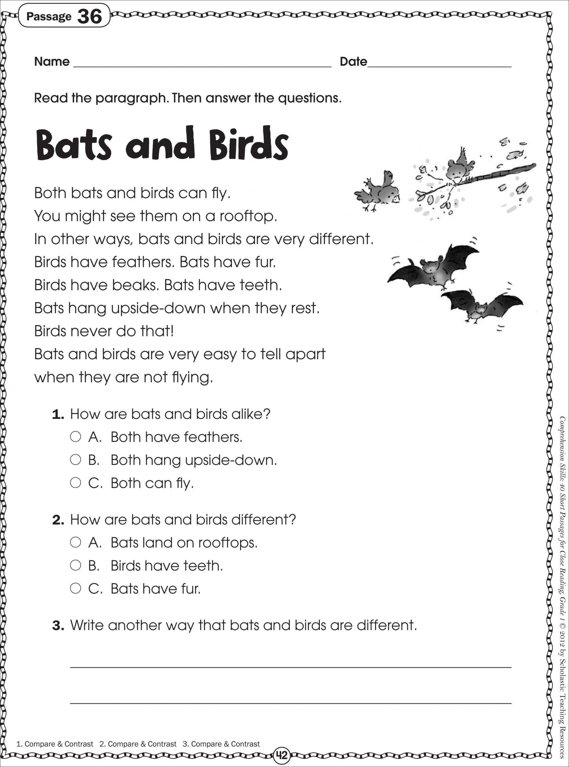Act Reading Comprehension Practice Worksheets