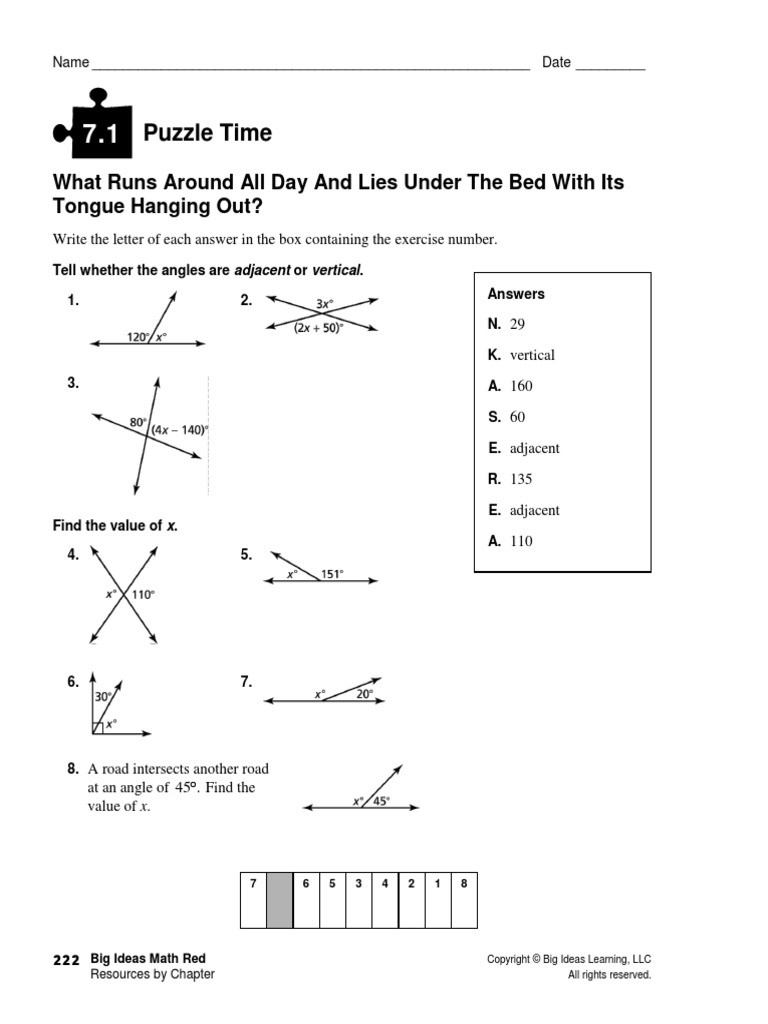 Angle Puzzle Worksheet Answers