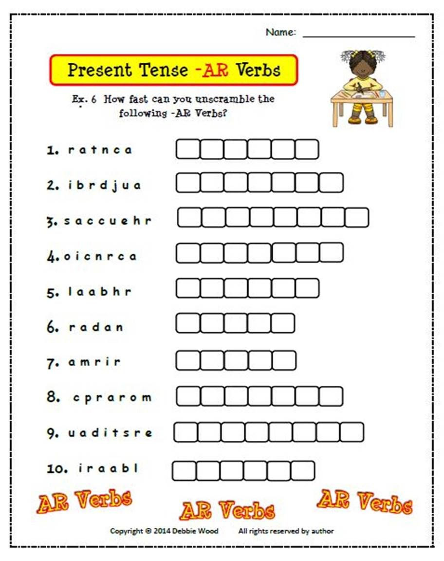 Spanish AR Verbs Present Tense Includes 6 worksheets and 24