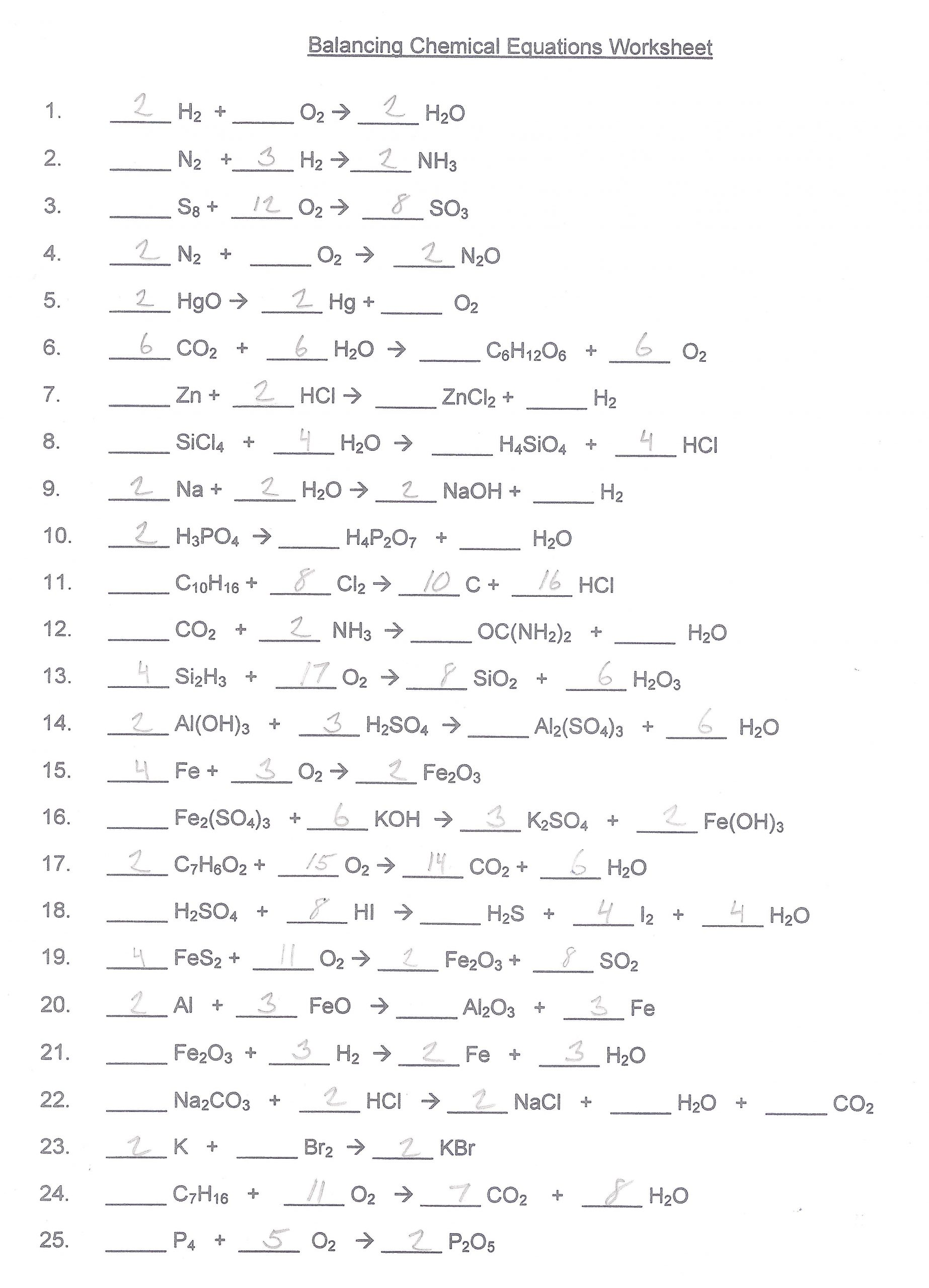General Chemistry Worksheets And Answers