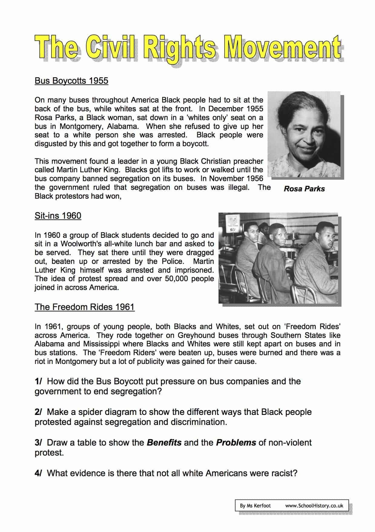 The Civil Rights Movement Worksheets Year 9 Free PDF