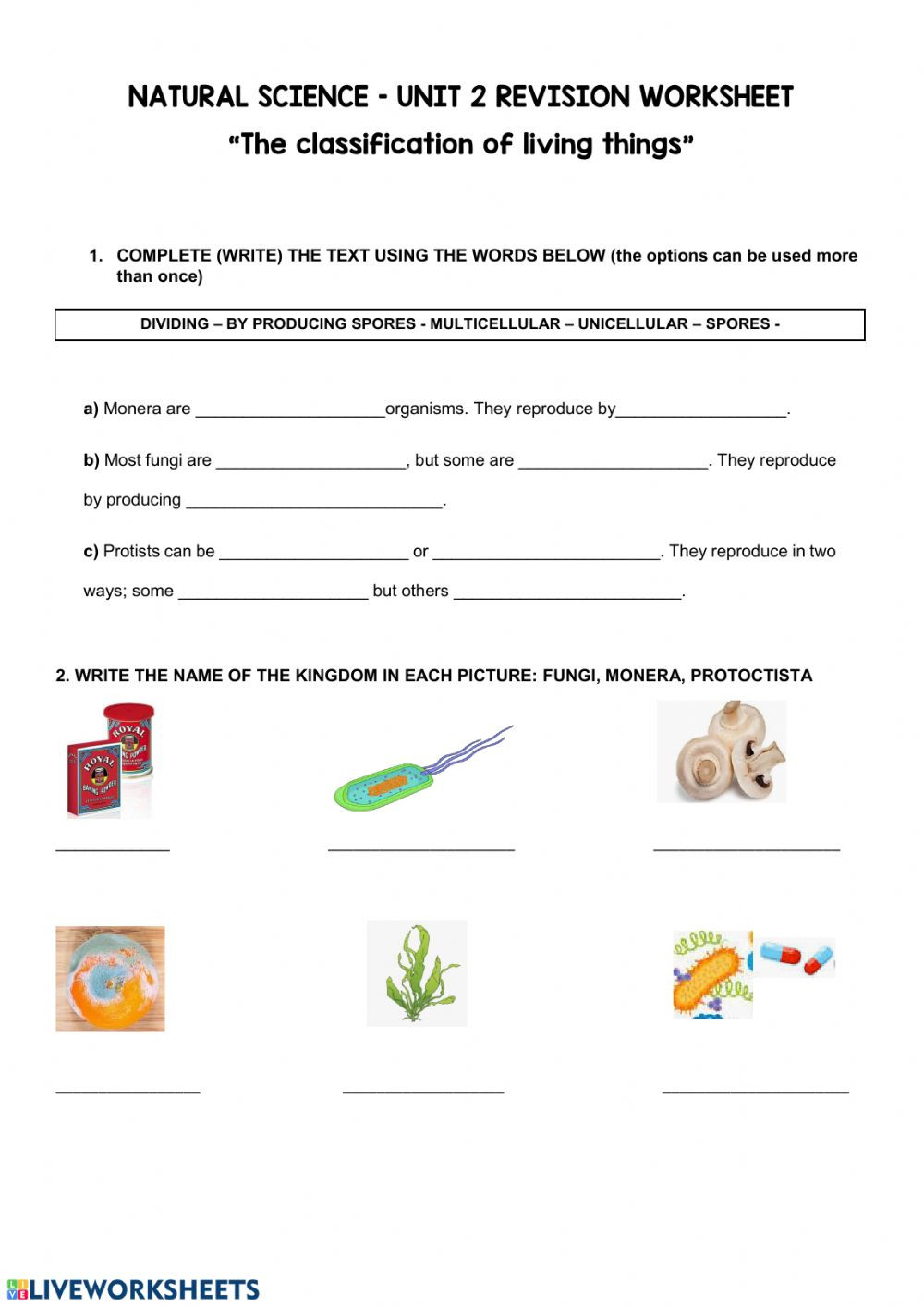 5º The classification of living things Unit 2 worksheet