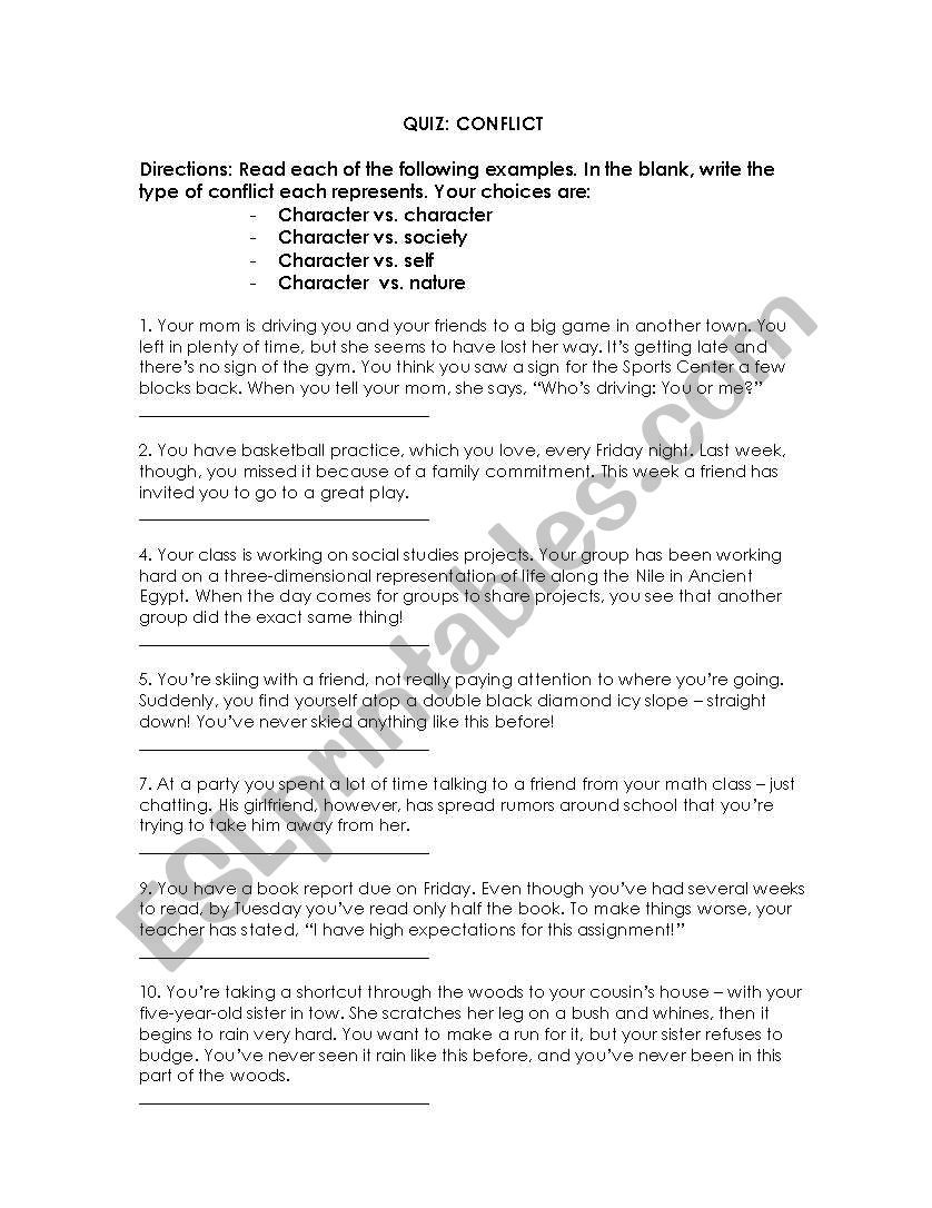 Conflict Worksheets for Middle School