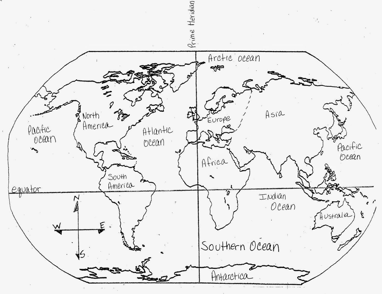 Continents and Oceans Map Worksheet