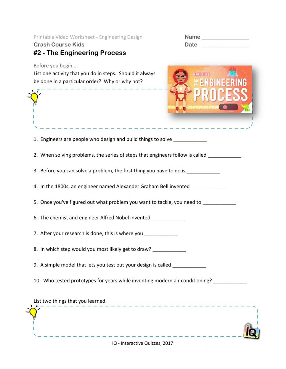 48 Crash Course The Engineering Process Video 2 worksheet