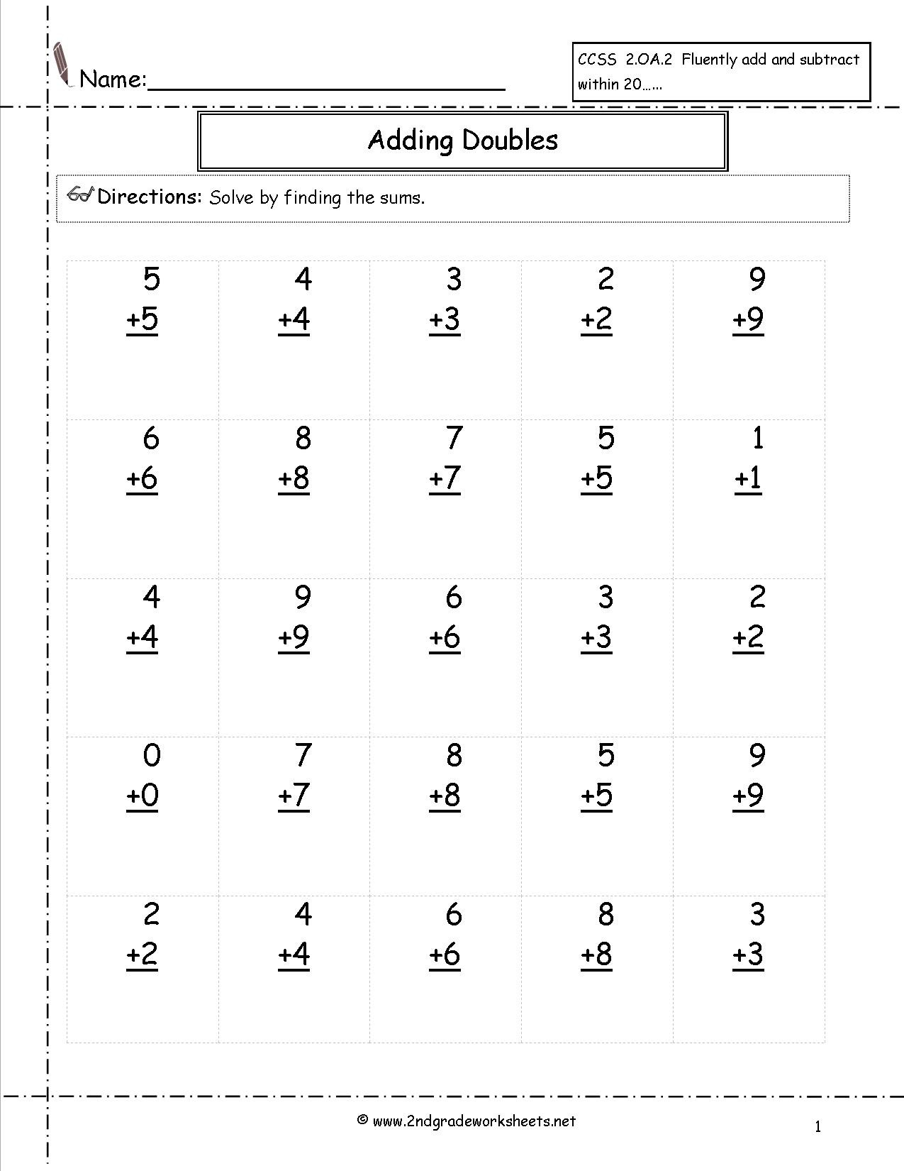 Doubles Plus Two Worksheets