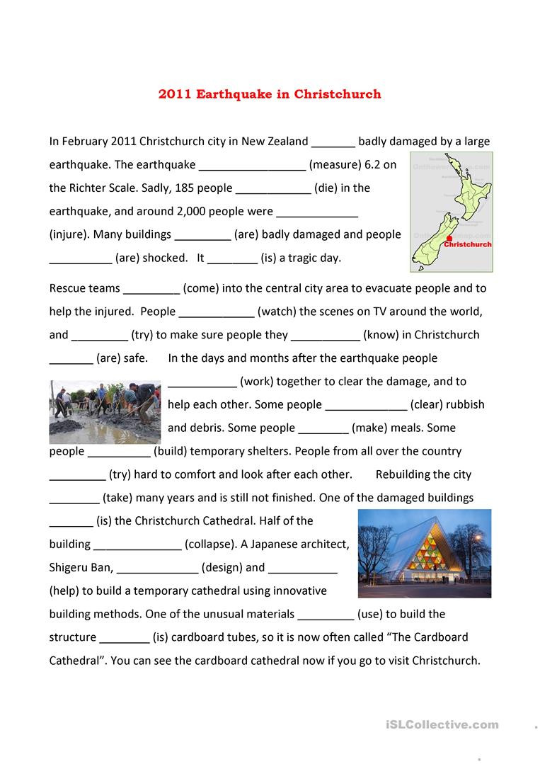 Christchurch Earthquake English Esl Worksheets For Distance