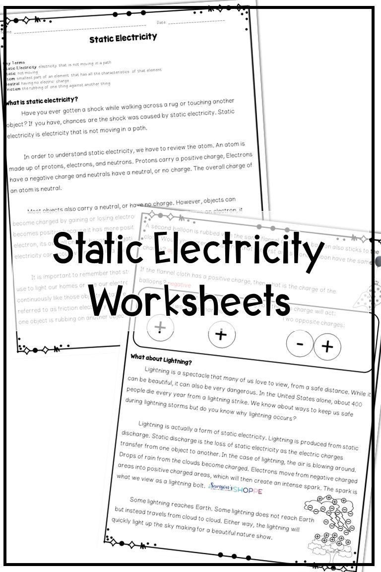 Electricity Worksheets for Middle School Static Electricity