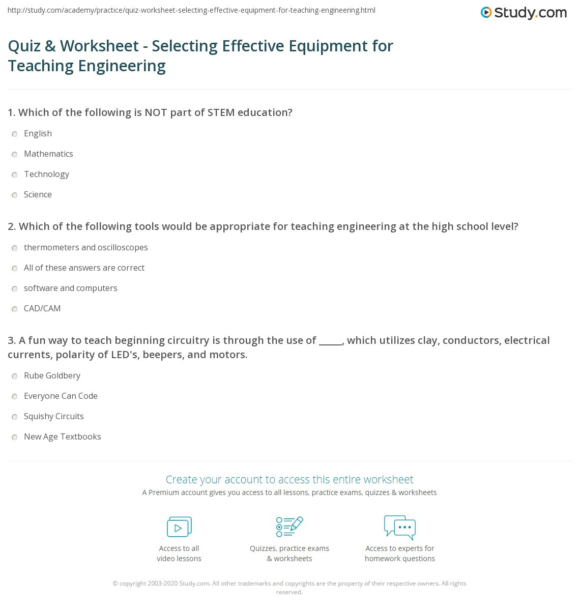 Engineering Worksheets for Middle School