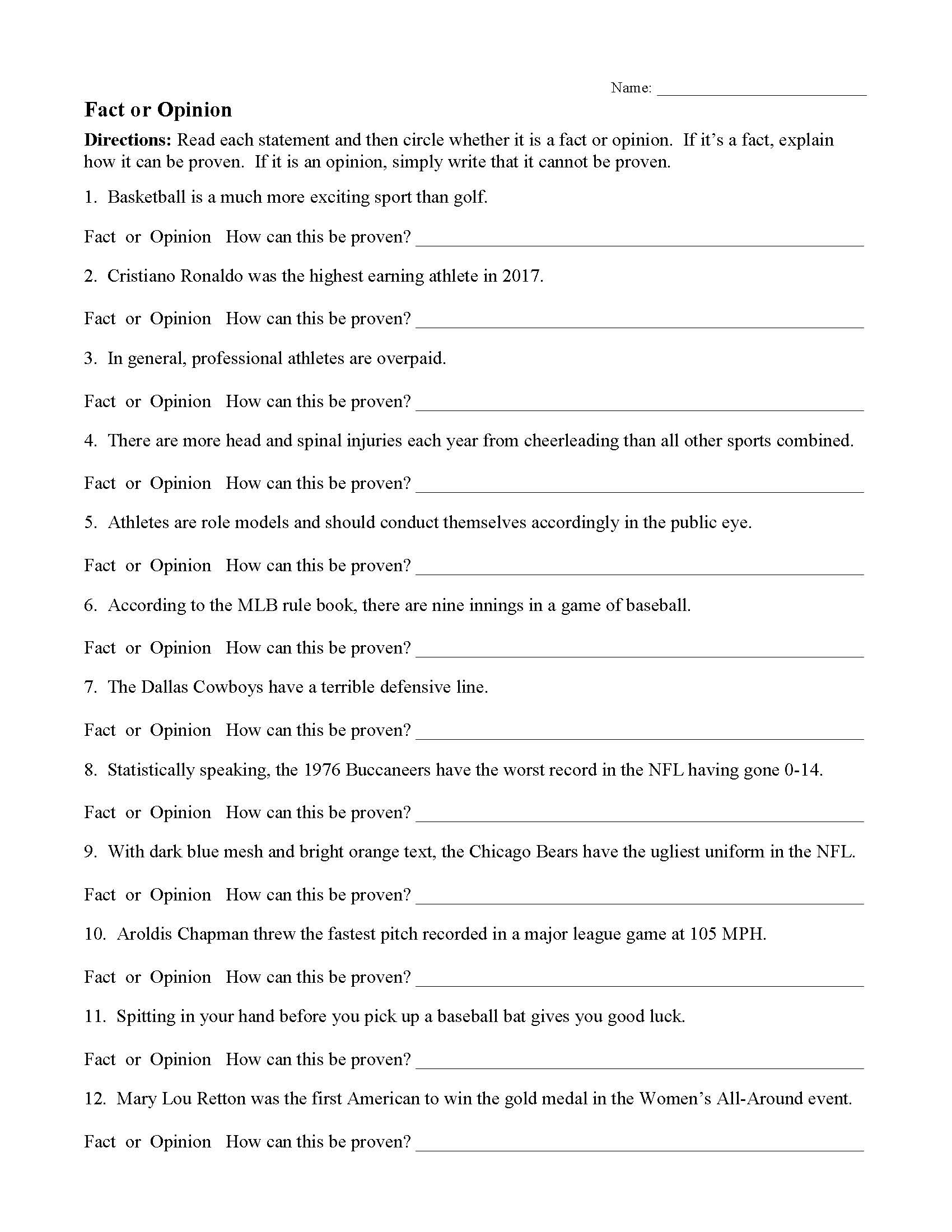 Fact Opinion Commonplace assertion Worksheet