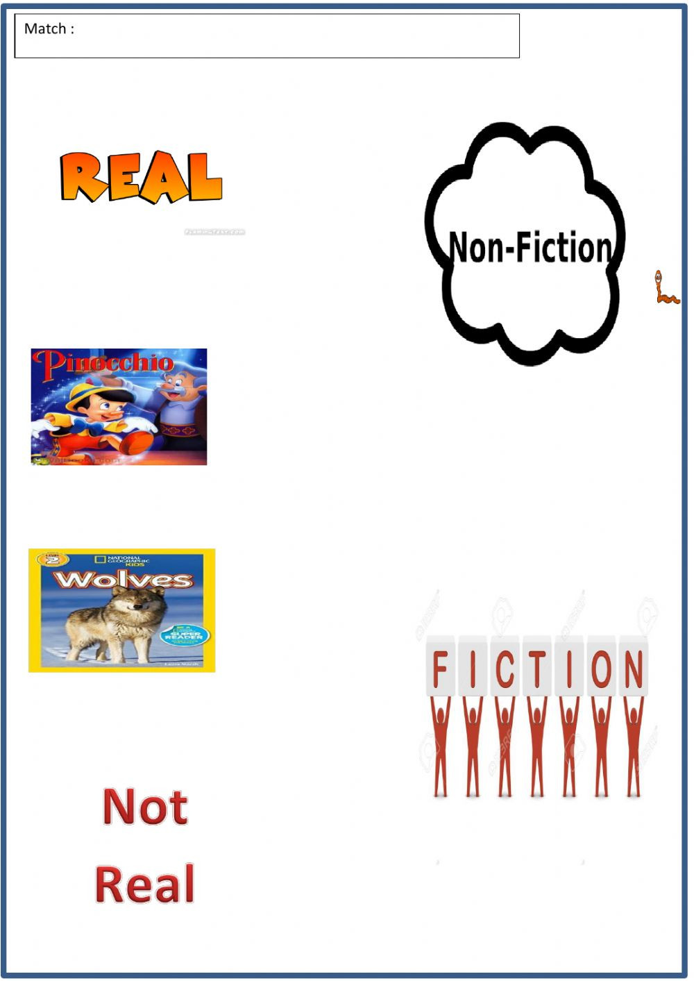 Fiction and non fiction online worksheet