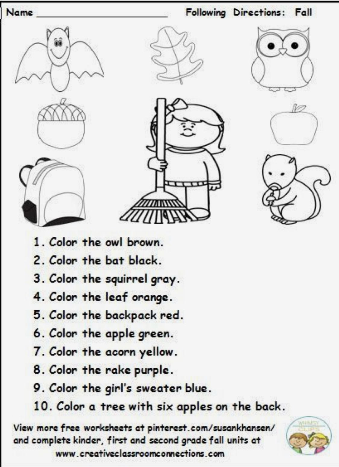 Free Following Directions Worksheets