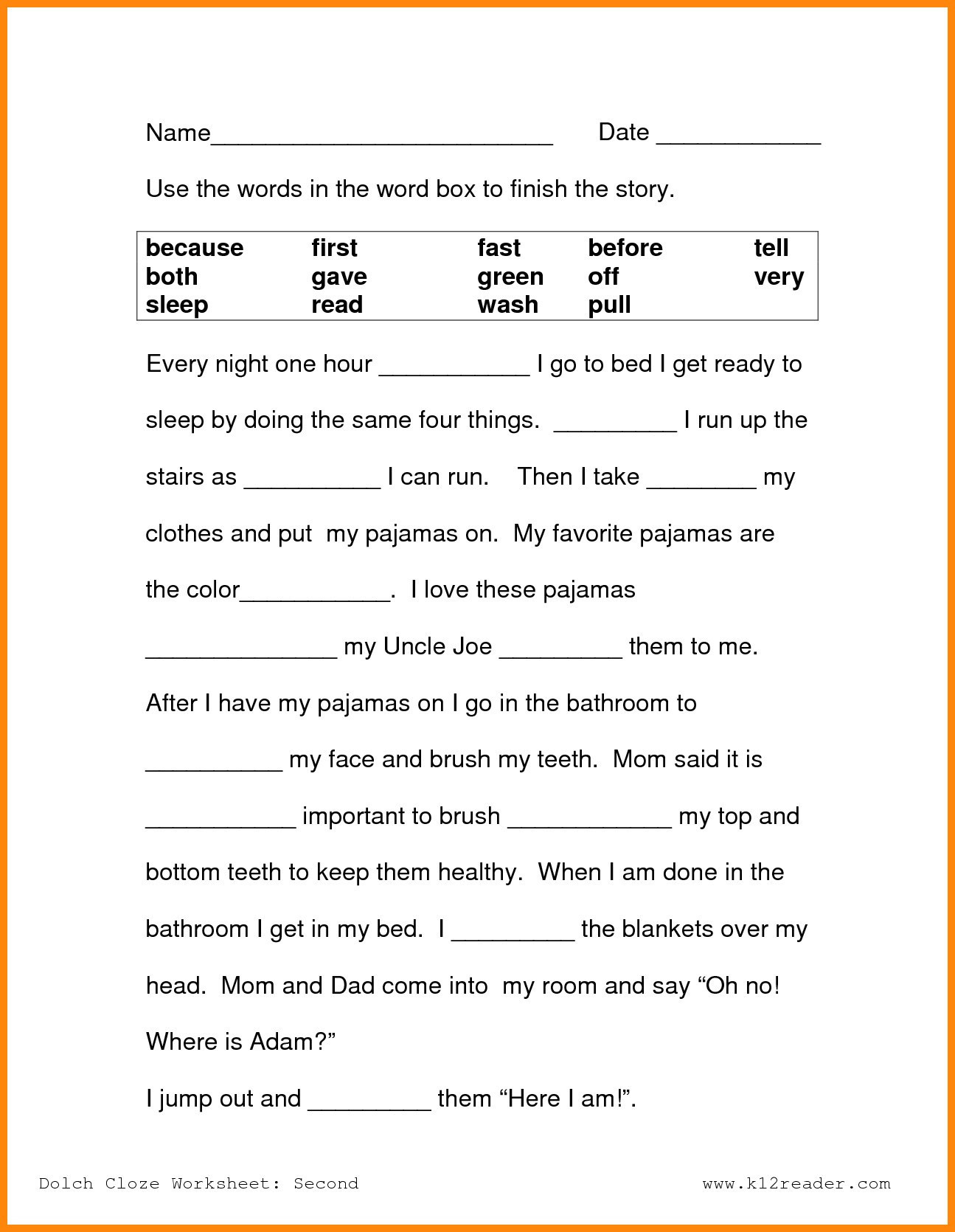 Free Second Grade Reading Worksheets