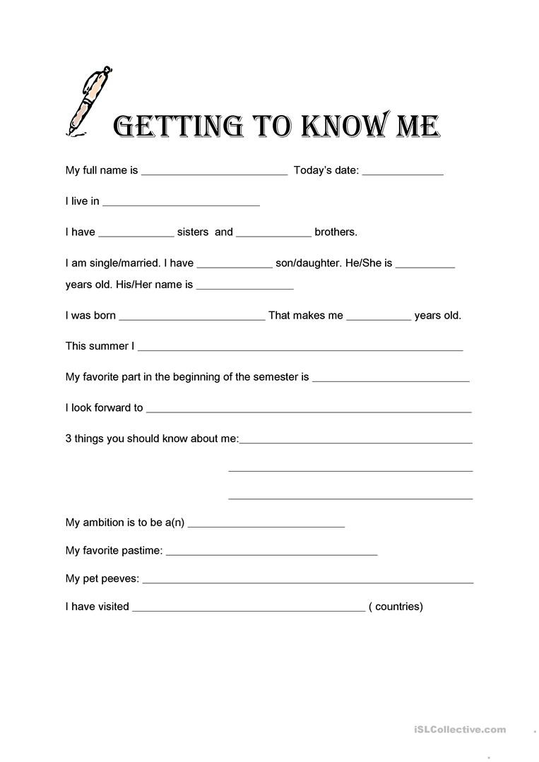 Getting to Know Me English ESL Worksheets for distance