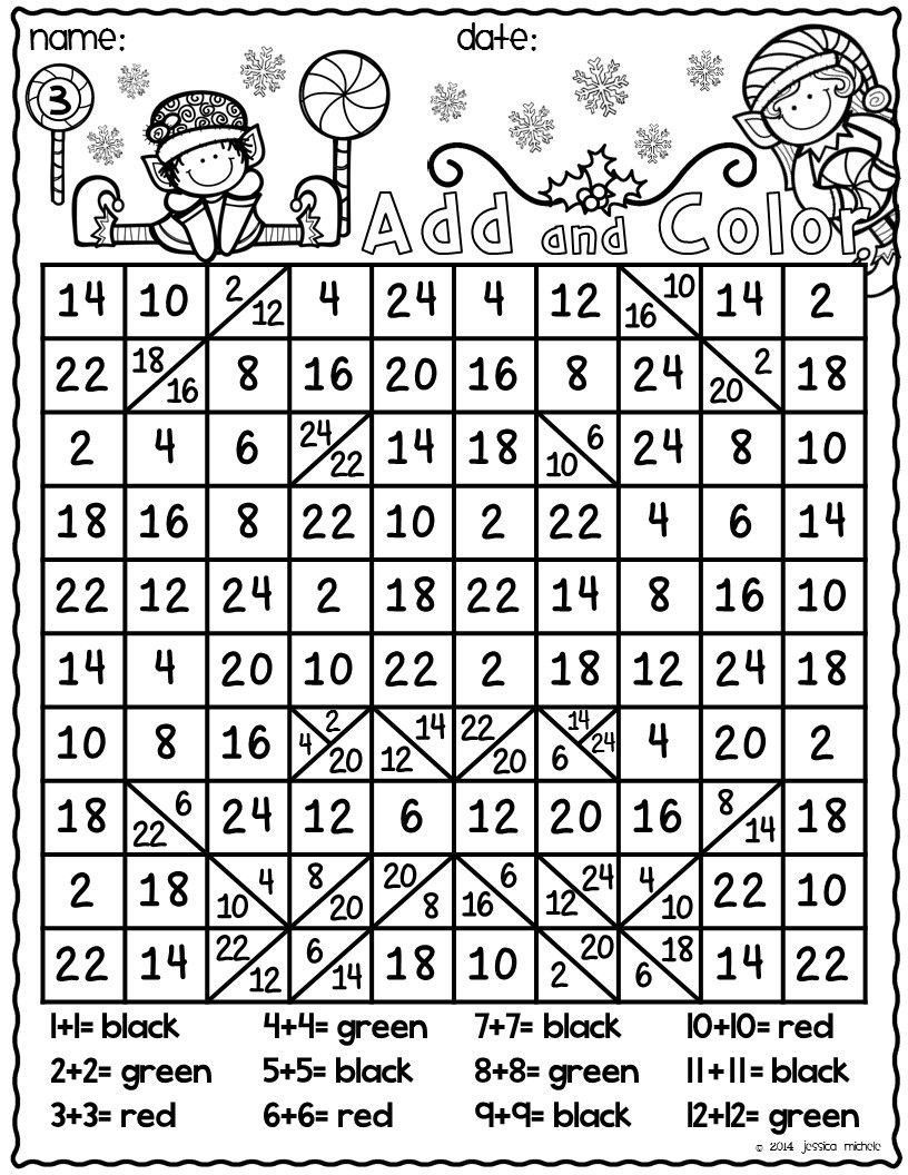 Hidden Picture Math Worksheets Add and Color Hidden