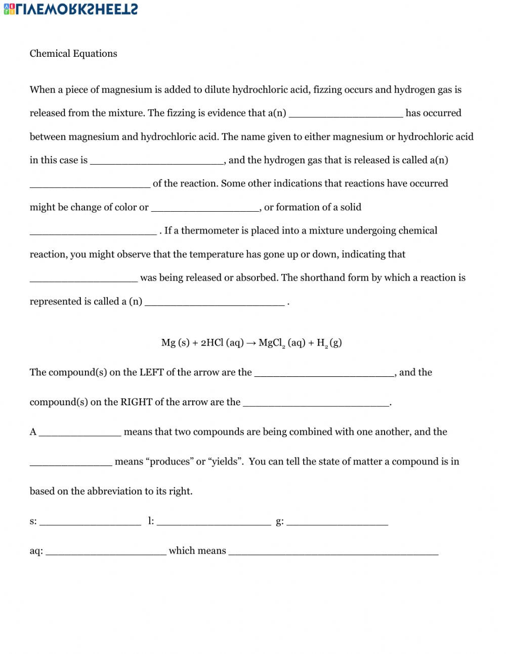 Intro to Chemical Equations worksheet